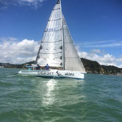"""""""Thirsty Work"""" with a full suite of UK Sailmakers replacement sails.  Her upwind sails are made with UK's Titanium continuous yarn membrane system."""