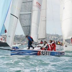 """""""Spank"""" racing with her UK Sailmakers Titanium main, Tape-Drive genoa and asymmetrical spinnaker."""