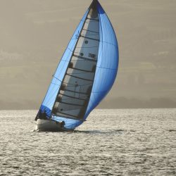 "New UK Sailmaker Spinnaker on ""Thirsty Work"""
